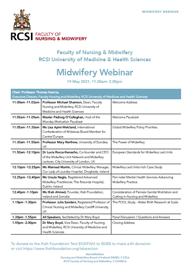 Midwifery Webinar  19 May 2021-  Faculty of Nursing and Midwifery, RCSI image