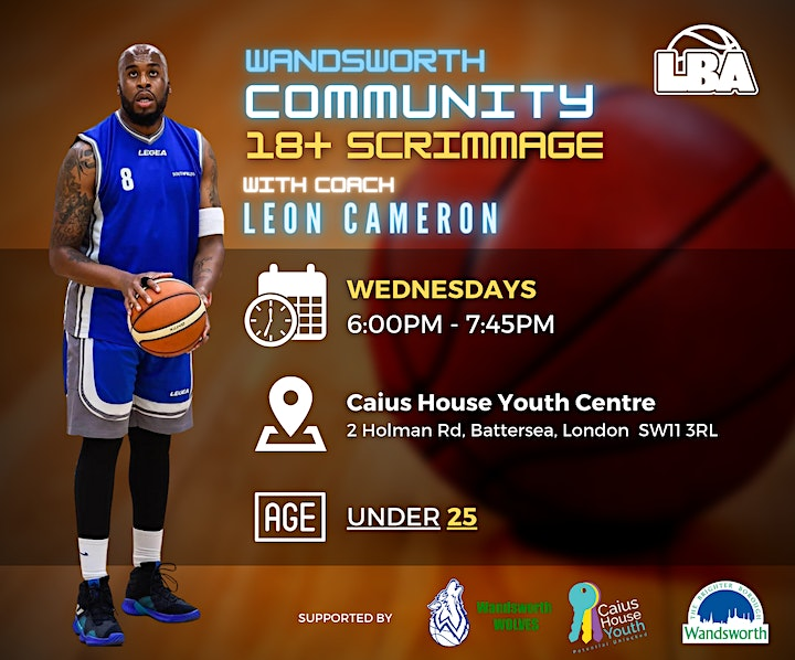 18+ Wandsworth Community Scrimmages   @ Caius House   Weekly Basketball image