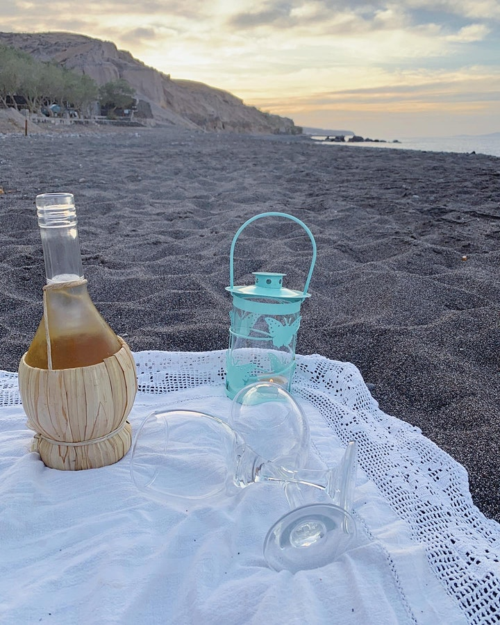 Dreamy sunset meditation by the beach with wine 3