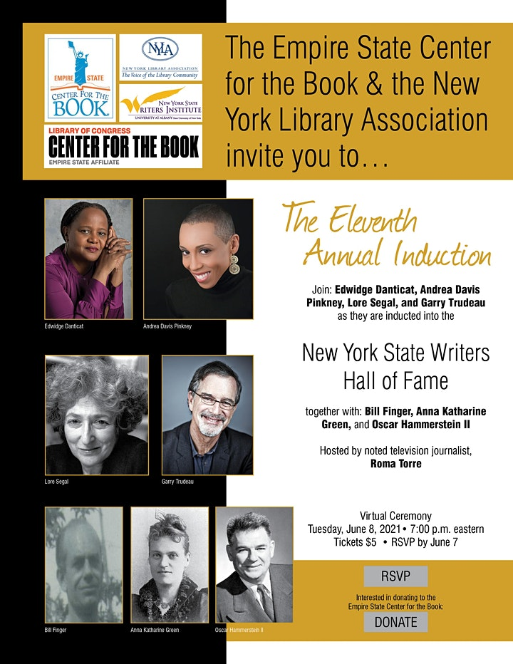 NYS Writers Hall of Fame Virtual Ceremony (2020-2021 Inductees) image