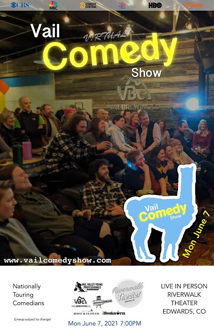 Vail Comedy Show (Streaming Tickets for Live In-Person show) - June 7, 2021 image