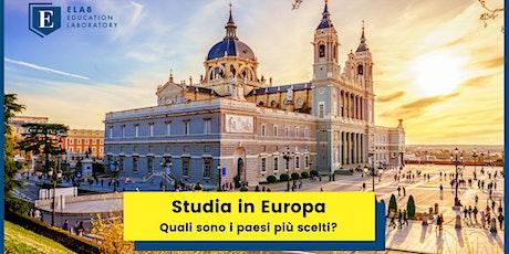 Studiare in Europa - quali sono i paesi più scelti? biglietti
