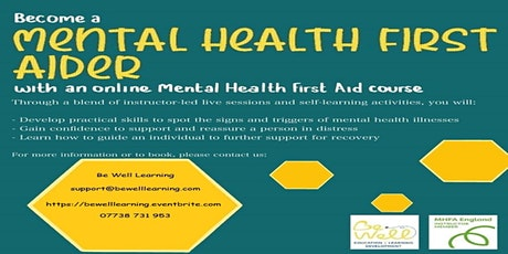 Online Mental Health First Aid (MHFA) Adult tickets