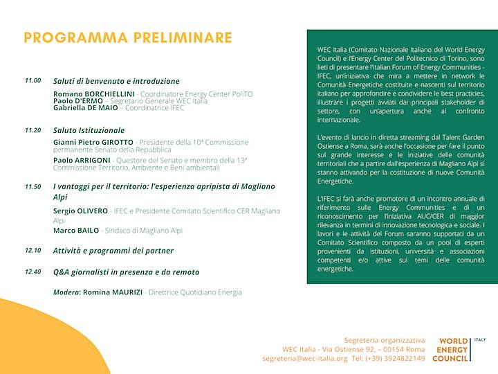 Immagine Evento lancio IFEC -  Italian Forum of Energy Communities