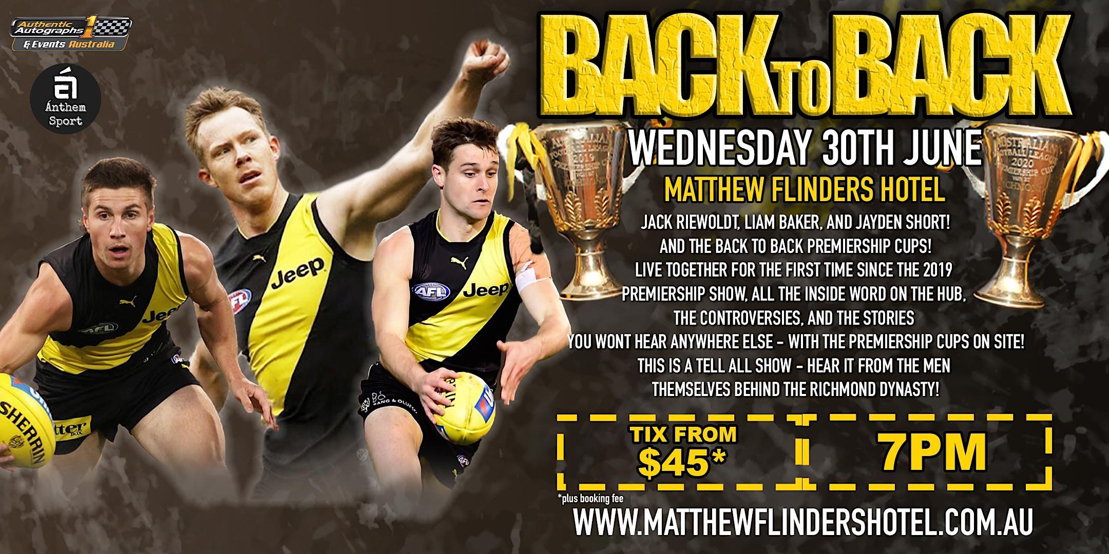 Back 2 Back Premiers Reiwoldt, Baker & Short LIVE at Matthew Flinders Hotel