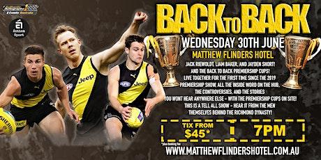 Back 2 Back Premiers Reiwoldt, Baker & Short LIVE at Matthew Flinders Hotel tickets