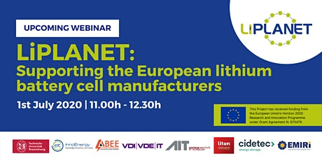 LiPLANET: Supporting the European lithium battery cell manufacturers Tickets