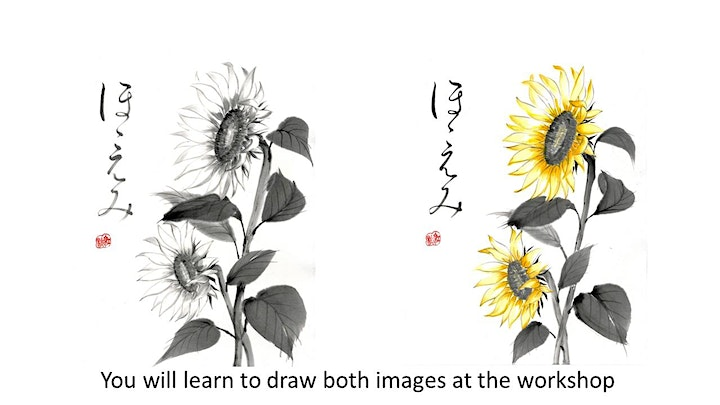 """Sumi-e  Ink Painting workshop """"Coloured Sunflower with ほほえみ -smile """" TypeB image"""
