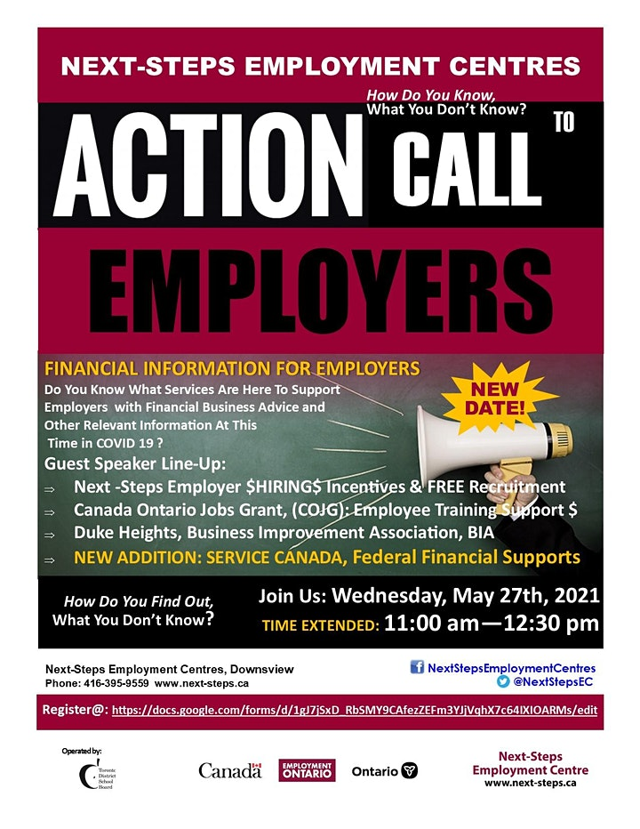 ACTION CALL to EMPLOYERS: Information Session, During COVID 19 image