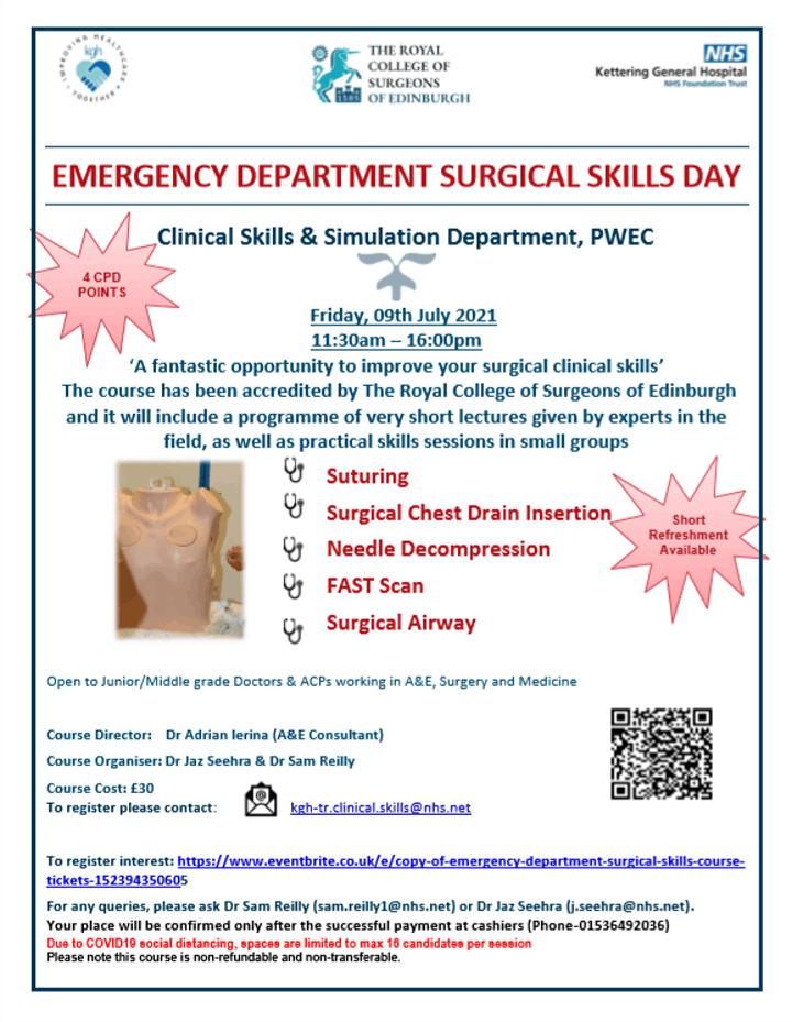 EMERGENCY DEPARTMENT SURGICAL SKILLS COURSE - UK RESIDENTS ONLY image