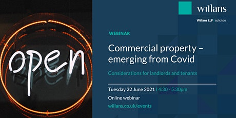 Commercial property - emerging from Covid (webinar) tickets