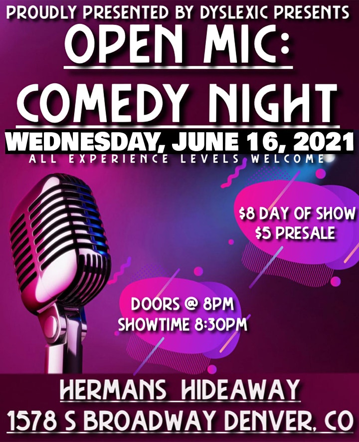 OPEN MIC COMEDY NIGHT   OPEN SIGN UP   ALL EXP. LEVELS image