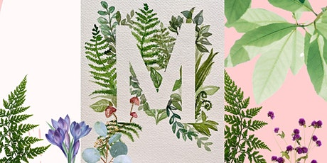 Watercolor & Wine - Botanical Monogram with Ivy Line Design tickets