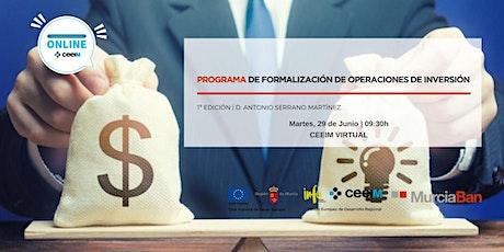 PROGRAMA DE FORMALIZACIÓN DE OPERACIONES DE INVERSIÓN MURCIA-BAN entradas