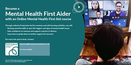 Mental Health First Aid Training Adult Online Course (England, UK) 2021 tickets