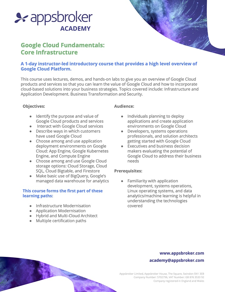 Google Cloud Fundamentals: Core Infrastructure for Industry image
