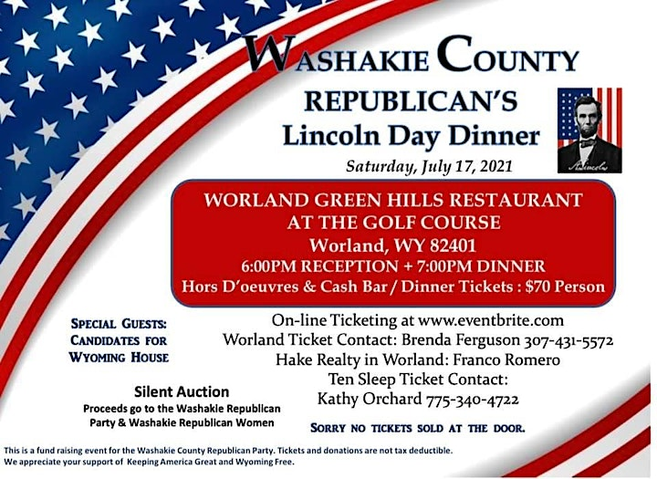 Washakie County GOP Annual Lincoln Day Dinner Fundraiser 2021 image