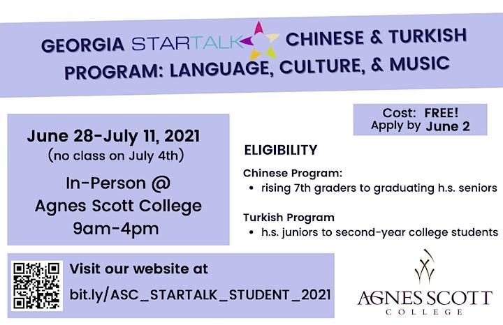 Free Chinese and Turkish summer camp (STARTALK program) image