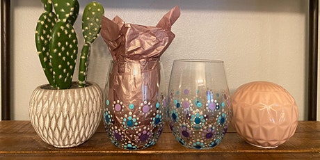 Mandala Wine Glass Paint Night with Pretty in Paint at Rustic Cork Wine Bar tickets