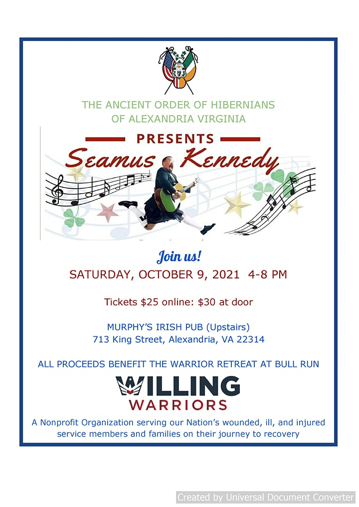 Seamus Kennedy Concert to Benefit Willing Warriors image