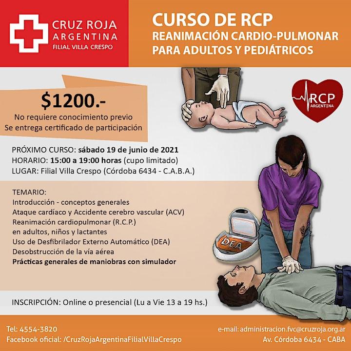Imagen de Curso de RCP en Cruz Roja (sábado 19-06-21) - Duración 4 hs.