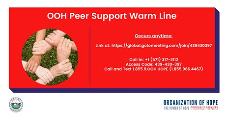 OOH Peer  Support Warm Line ingressos