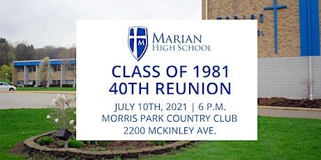 Marian High School  40th 1981 Class Reunion tickets