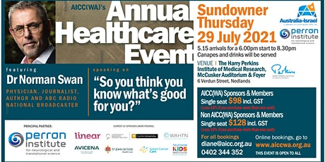 29 JULY 2021 AICC(WA) Annual Healthcare Event featuring Dr Norman Swan tickets