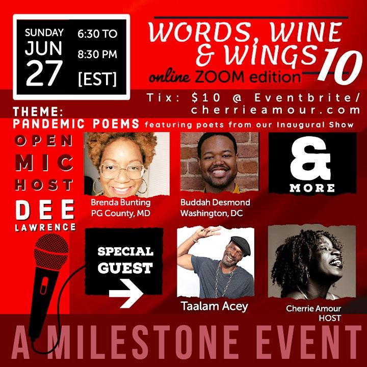 Words, Wine & Wings 10 -  The Milestone  (Online/Zoom ) image
