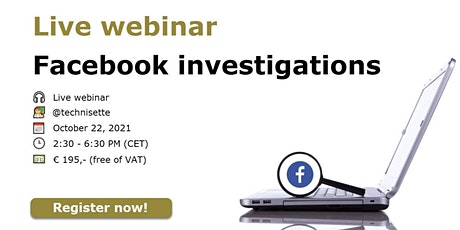 "Live webinar ""Facebook Investigations"" biglietti"