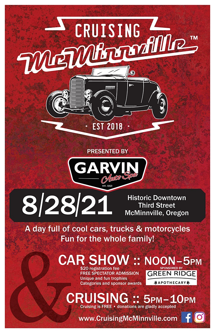 Cruising McMinnville 2021 Car Show Registration image