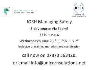 IOSH Managing Safely (Via Zoom) tickets