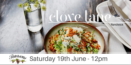 Petersons Wines Food & Wine Matching Lunch Clove Lane tickets