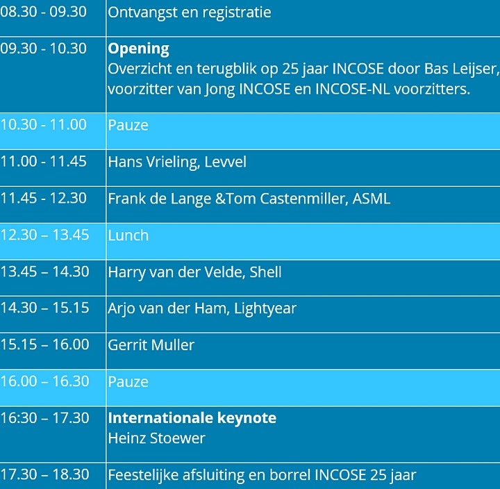 Afbeelding van 25-jarig jubileum INCOSE-NL