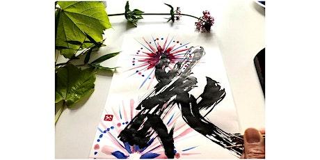 Creative Lettering 花 Hana flower on Sumi-e  style fireworks art workshop tickets