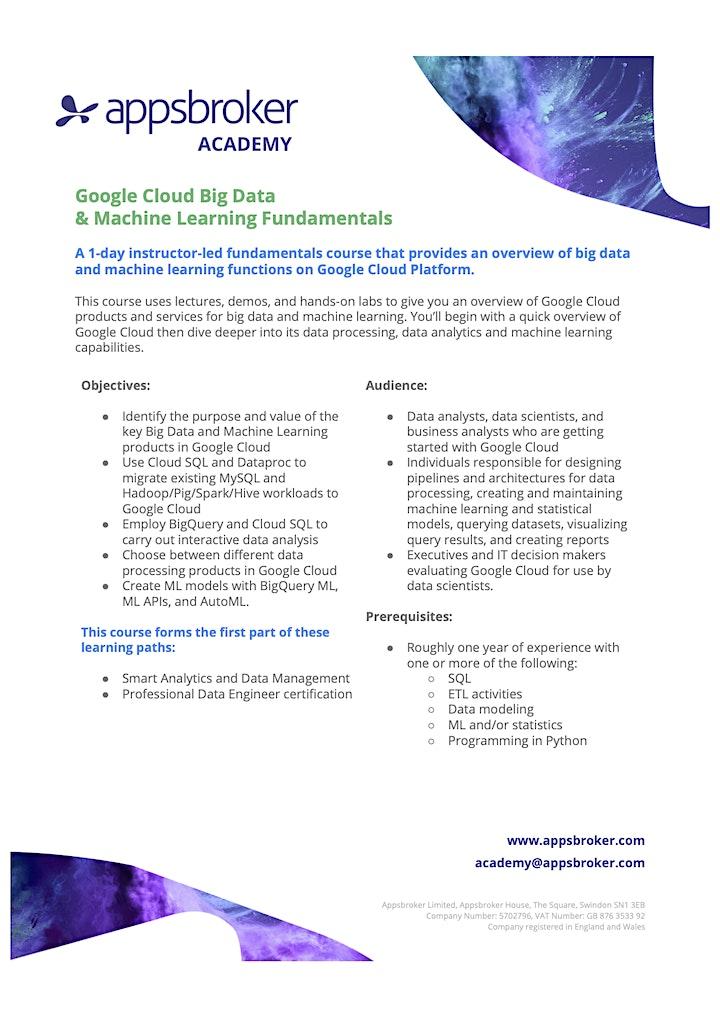 Google Cloud Big Data & Machine Learning Fundamentals image