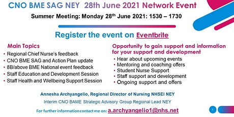 NEY CNO BME SAG Network Event /Meeting 28th June 2021, 15.30-17.30pm tickets