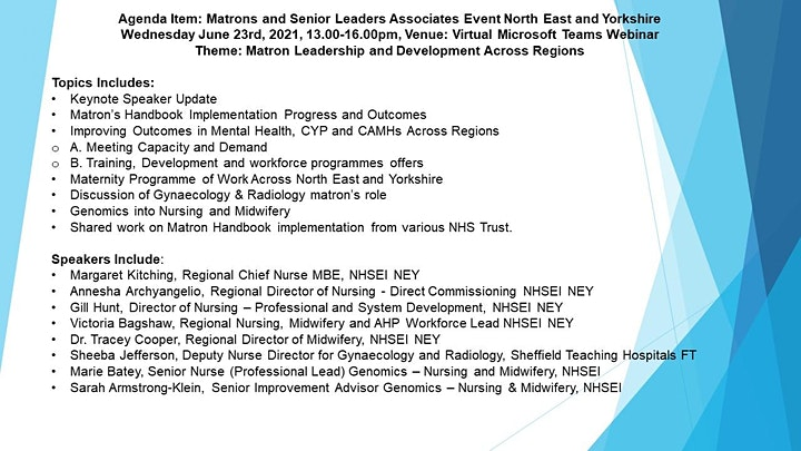 Matron's & Senior Leaders Associates-North East & Yorkshire 23.6.21, 1-4pm image