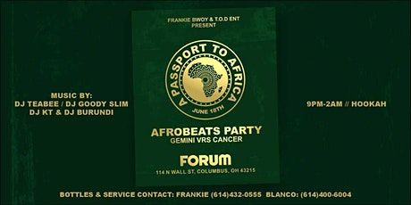 """AFROBEATS PARTY  """"PASSPORT TO AFRICA"""" at The Forum tickets"""