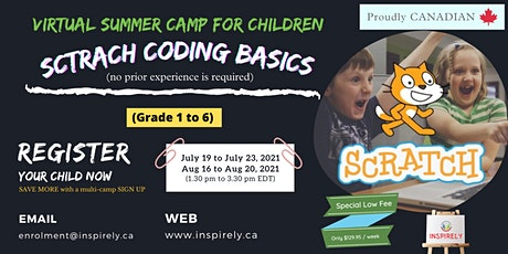 Virtual Summer Camp | Scratch Coding Basics| For Children grade 1 to 6 tickets