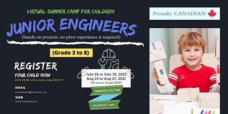 Virtual Summer Camp   Junior Engineers   For Children grade 3 to 8 tickets