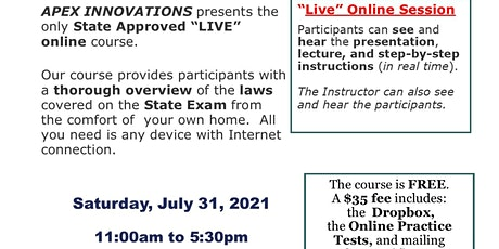 LIVE ONLINE CALIFORNIA NOTARY PUBLIC COURSE - JULY 31, 2021 tickets