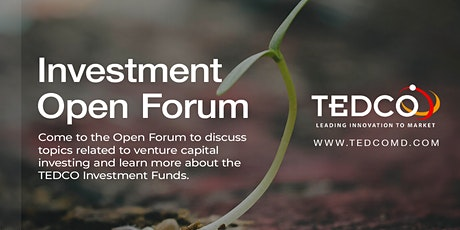 TEDCO Investment Open Forum tickets