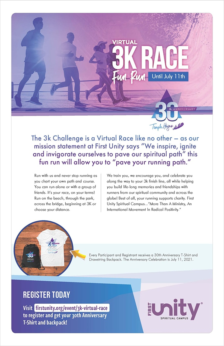 3K/5K/10K Virtual Race and Fun Run Temple Hayes 30 years in Ministry image