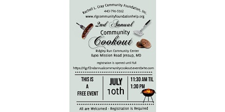 2nd Annual Community Cookout tickets
