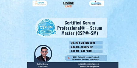 CSP®-SM Virtual Certification  28, 29 & 30 July 2021 6:00 PM – 11:30 PM IST tickets