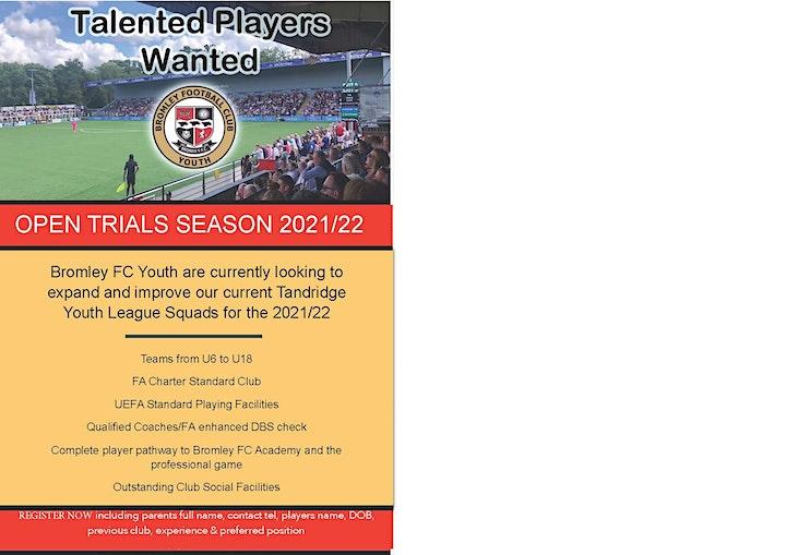 U7s/U8s Bromley FC  Youth Trials for  2021/2022 season. image