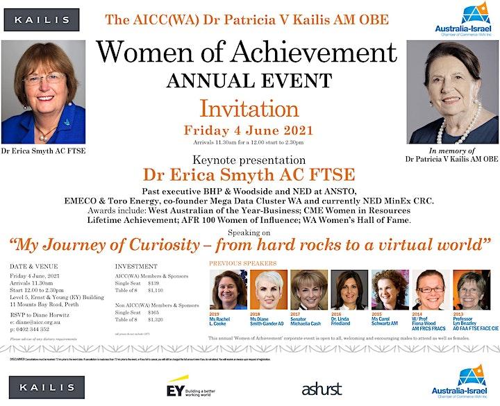 4 June 2021 AICC(WA) Dr Patricia V Kailis AM OBE Women of Achievement Event image