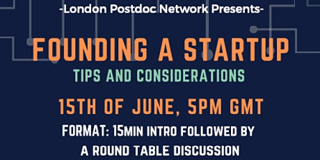 Founding A Startup - tips and considerations tickets