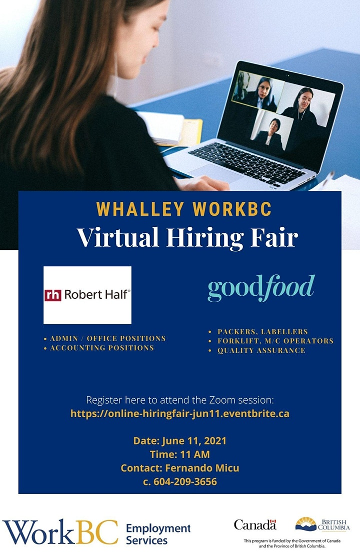 Whalley WorkBC Virtual Hiring Fair -June 11th image